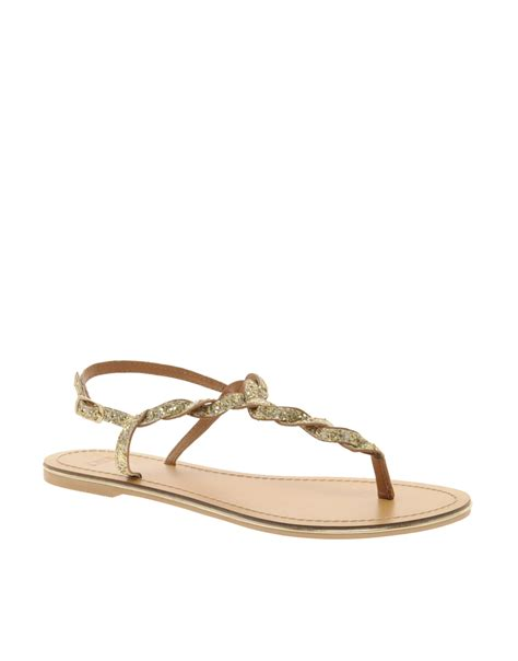 glitter flat sandals asos asos flash flat sandals with glitter detail in beige