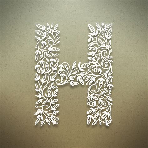 letter h typography beautiful botanical alphabet science and technology