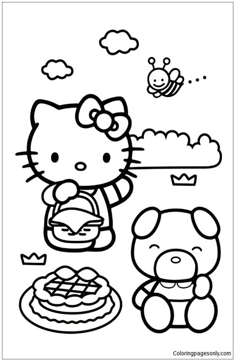 hello kitty mimmy coloring pages hello kitty coloring pages 15 kitty and mimmy having