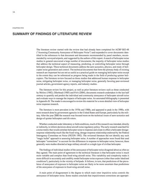 Neurobrucellosis A Report And Review Of Literature by Chapter Five Summary Of Findings Of Literature Review Helicopter Noise Information For