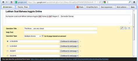 membuat soal dengan google form membuat quiz test online di blogspot menggunakan google