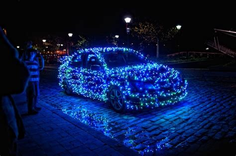 fa la la la festive christmas lights on cars to brighten