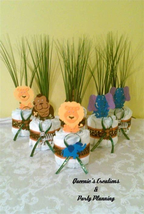 jungle theme mini diaper cake centerpieces jungle baby