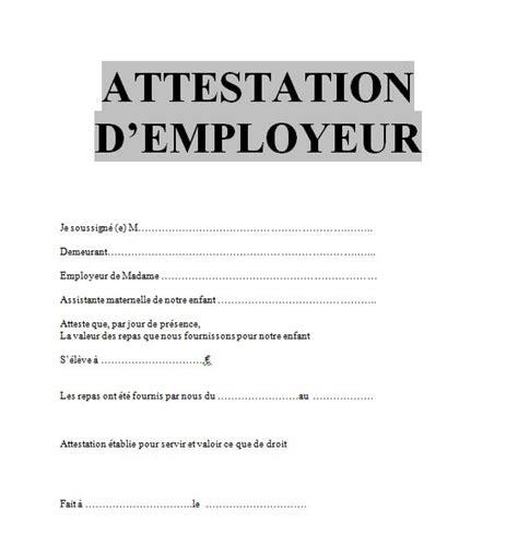 Attestation Employeur Modele