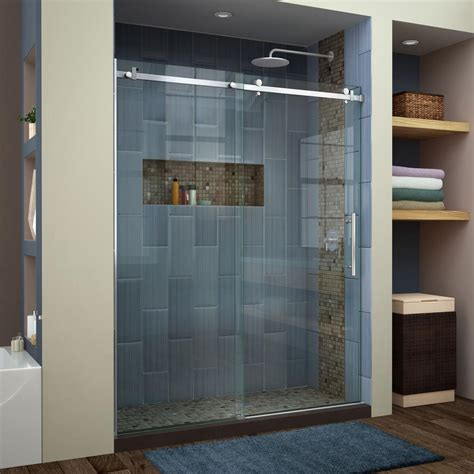 Dreamline Frameless Shower Doors Dreamline Enigma Air 56 In To 60 In X 76 In Frameless Sliding Shower Door In Brushed