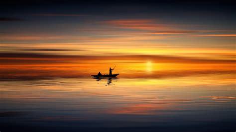 wallpaper sunset horizon reflection seascape sailing