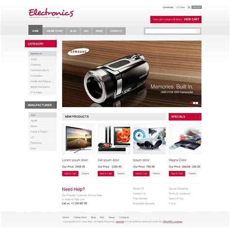 electronics store virtuemart template 28944