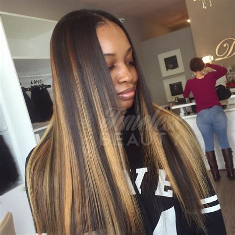 photos of weaves and streaking in hair timelessbeautyhair traditional sew in custom color