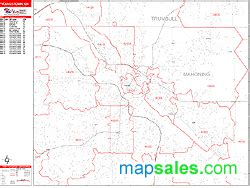 zip code map youngstown ohio youngstown ohio zip code wall map red line style by