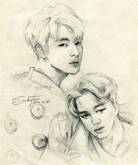 V Drawing Jimin by Fanart Of Bts Members Jin And Jimin By Sakutori My Kpop