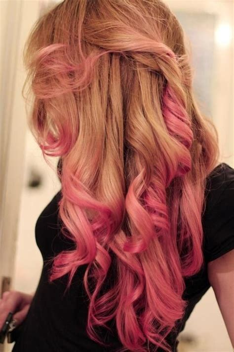 Hairstyles With Blonde And Pink Highlights | pink curls pink ombre hairstyles curly hair pinterest