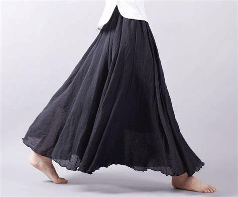Cotton A Line Maxi Skirt cotton linen skirt a line maxi skirt 12 colors
