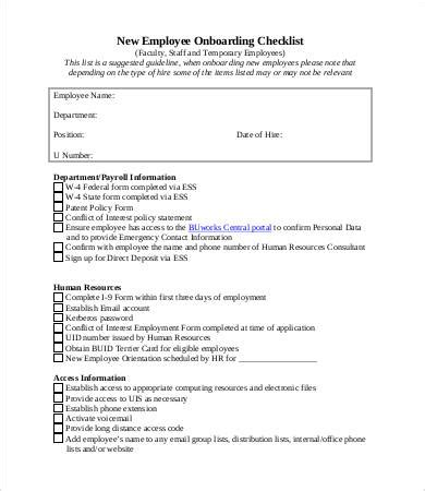 employee onboarding checklist template new employee checklist template 10 free pdf documents