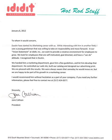 Recommendation Letter Marketing Letter Of Recommendation Ididit Incorporated Dustinface It Marketing Solutions