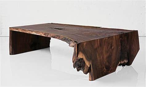 fold raw edge walnut slab coffee table materials solid