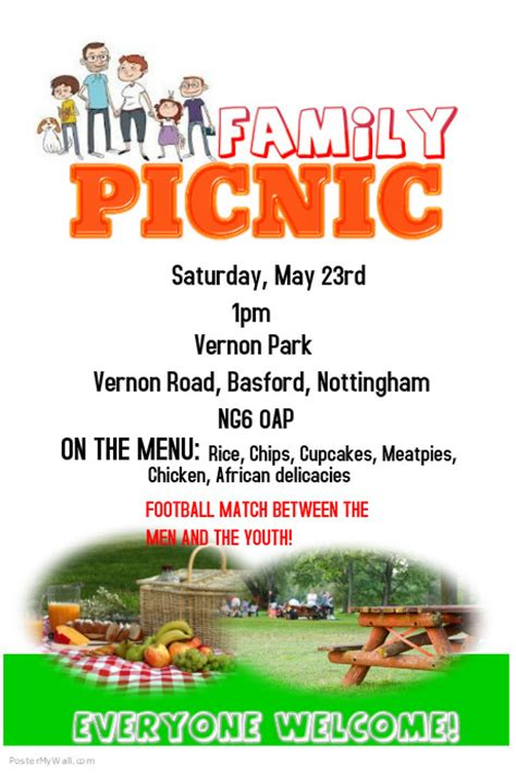 picnic flyer template postermywall