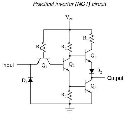 transistor not gate inverter the not gate logic gates electronics textbook