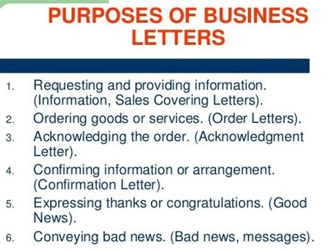 Business Letter Purpose purposes of business letter