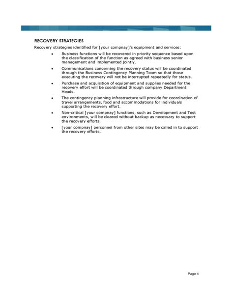 Security Resume Example by Sample Business Continuity Plan Template Free Download