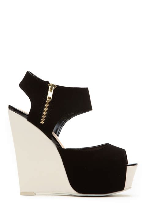 qupid black white modern zipper accent wedges cicihot