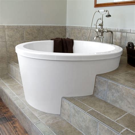 bathtub soaking 47 quot caruso round japanese soaking tub like the way walk