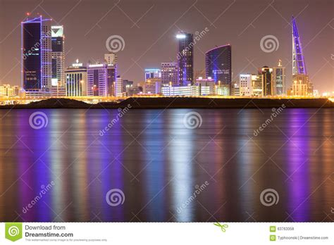 design grafix bahrain skyline of manama city at night editorial stock photo