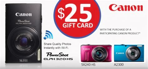 Canon Gift Card - shoppers drug mart 25 gift card with selected canon products canadian freebies