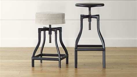 Crate And Barrel Turner Stool by Turner Black Adjustable Backless Bar Stools And Linen