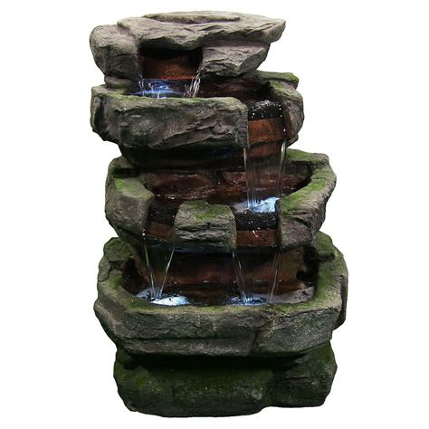 Outdoor Water Fountains With Lights Large Rock Quarry Outdoor Electric Garden Water With Led Lights Ebay
