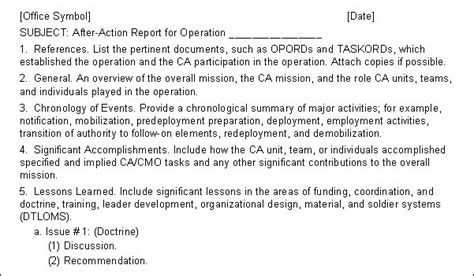 navy after report template fm 3 05 401 appendix c products of ca cmo planning and