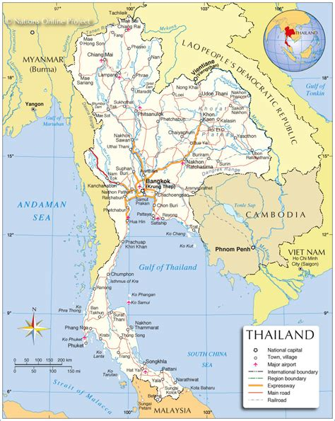 map thailand political map of thailand nations project