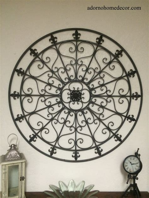 rod iron home decor large round wrought iron wall decor rustic scroll fleur de