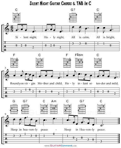 night changes guitar tutorial silent night chords with guitar tab lyrics free pdf