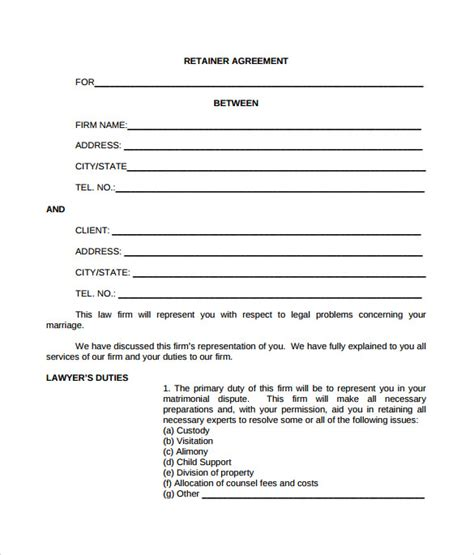 retainer agreement templates sle retainer agreement 6 exle format