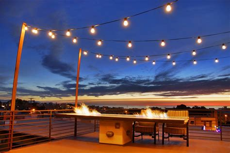 Rooftop Garden Ideas Fabulous Outdoor String Lighting With Rooftop Deck Lights