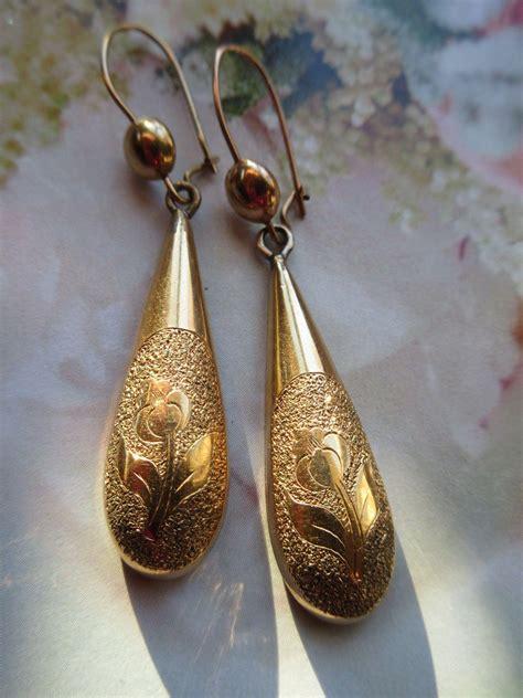 Gold Pierced Earrings by Antique Drop Earrings In Gold Fill Floral Pierced