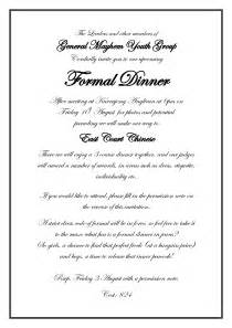 dinner invitation sle formal business dinner invitation letter sle 28 images