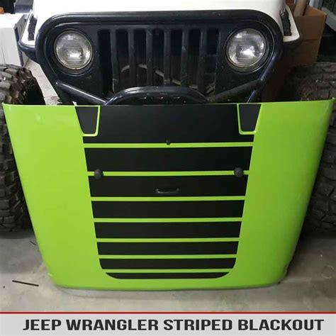 blackout jeep jeep wrangler striped hood blackout alphavinyl