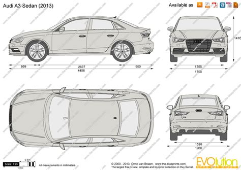 Audi A3 Dimensions 2014 by The Blueprints Vector Drawing Audi A3 Sedan