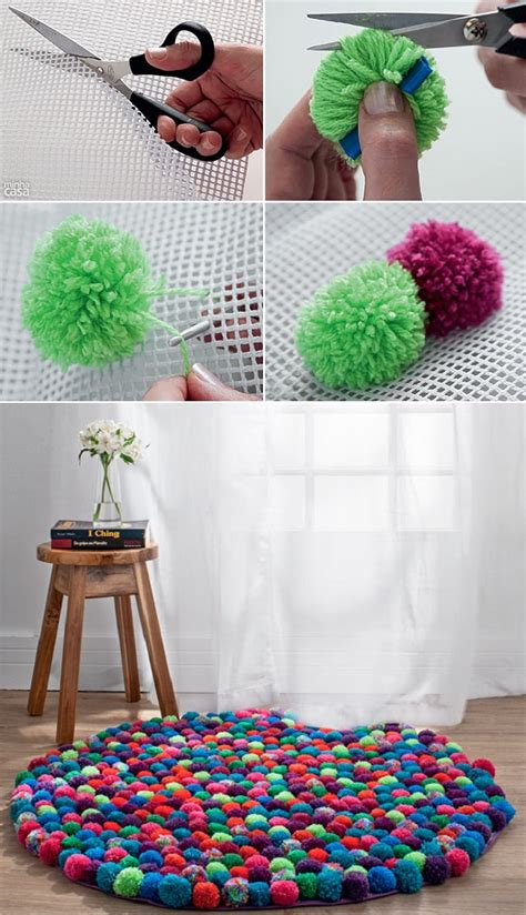 how to make a yarn pom pom rug diy pompom rug icreatived