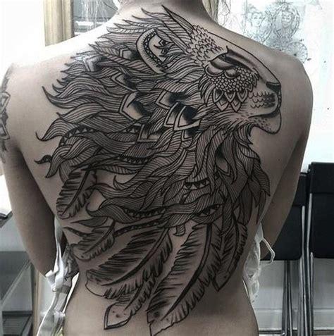 tattoo back lion black ink patchwork lion tattoo on whole back