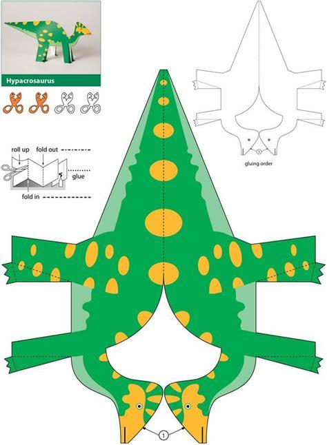 How To Make Dinosaurs Out Of Paper - bastelbogen dino hypacrosaurus zum ausdrucken