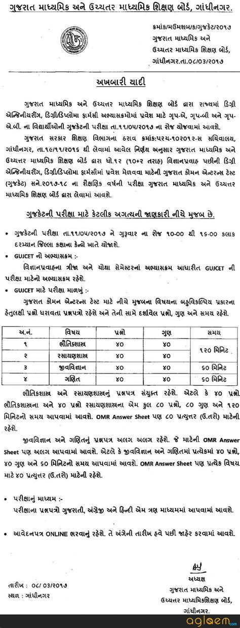 Gujarat Common Entrance Test For Mba 2017 by Gujcet 2017 Complete Details Gujarat Common Entrance