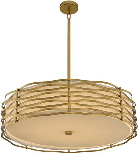 Kalco 312754vbr Paloma Modern Vintage Brass Led Drum Drum Pendant Light Fixture