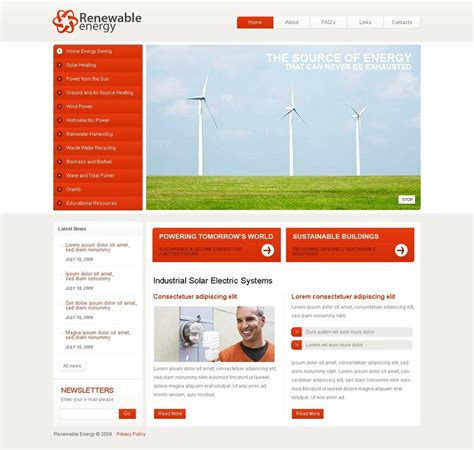 cms templates wind energy flash cms template 40063