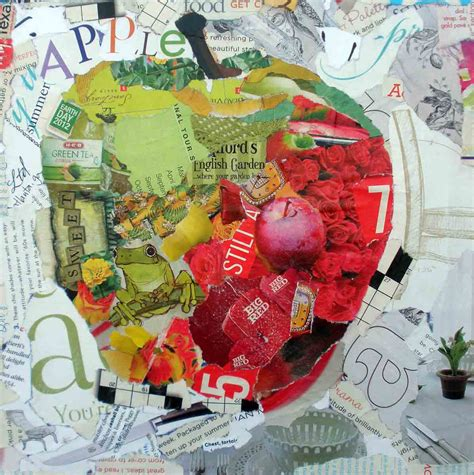 Paper Collage - kaysmithbrushworks apple torn paper collage