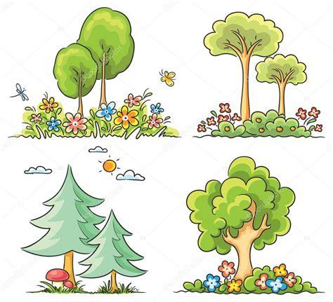 imagenes de flores y arboles 193 rboles de dibujos animados con flores archivo im 225 genes