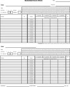 Basketball Score Sheet Excel Template by Basketball Score Sheet For Excel Pdf And Word