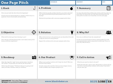 One Page Business Pitch Template One Page Pitch