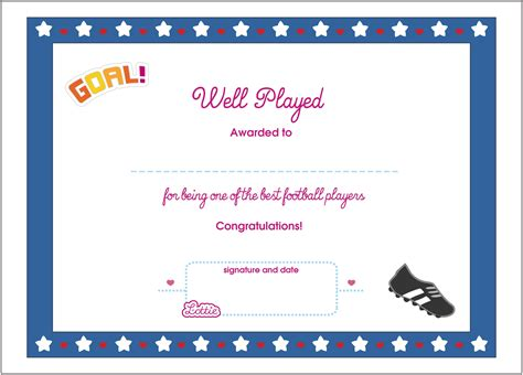 football printable award certificate lottie dolls